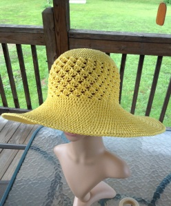 Cindy's tester hat of Southern and Sassy summer hat pattern by ELK Studio