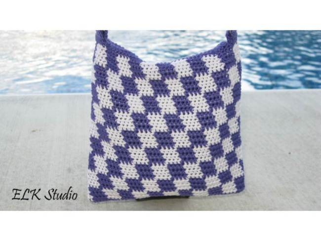 Free checkers tote pattern by ELK Studio